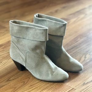Vintage Taupe Leather Suede Cuffed Booties